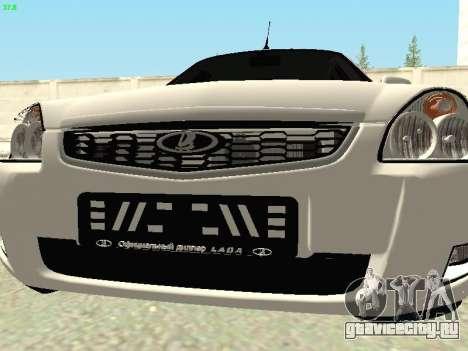Lada 2172 Priora для GTA San Andreas вид изнутри
