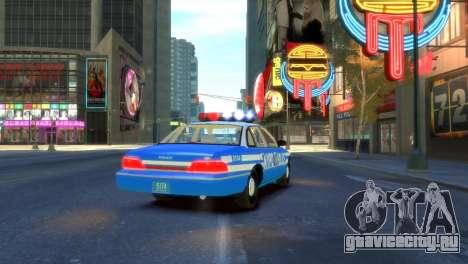 Ford Crown Victoria 1994 NYPD для GTA 4 вид сзади слева
