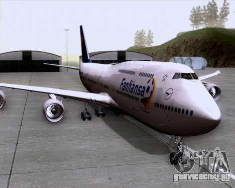 Boeing 747-830 Lufthansa - Fanhansa для GTA San Andreas вид сзади слева