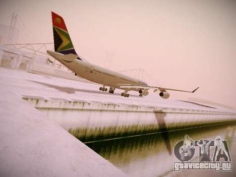 Airbus A340-300 South African Airways для GTA San Andreas вид сзади слева