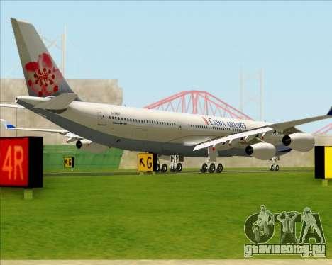Airbus A340-313 China Airlines для GTA San Andreas вид сзади слева