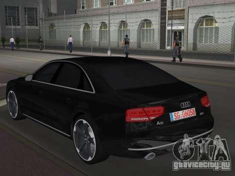Audi A8 2010 W12 Rim6 для GTA Vice City вид сзади слева