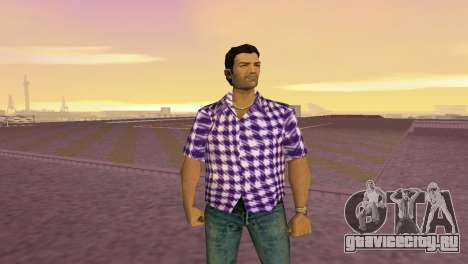 Kockas polo - lila T-Shirt для GTA Vice City