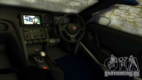 Nissan GT-R SpecV Black Revel для GTA Vice City вид изнутри