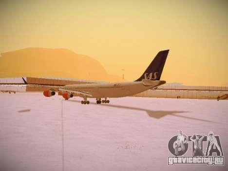 Airbus A340-300 Scandinavian Airlines для GTA San Andreas вид сзади слева