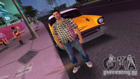 Kockas polo - barna T-Shirt для GTA Vice City