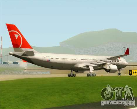 Airbus A330-300 Northwest Airlines для GTA San Andreas вид сзади