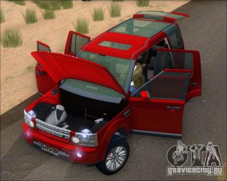 Land Rover Discovery 4 для GTA San Andreas вид изнутри