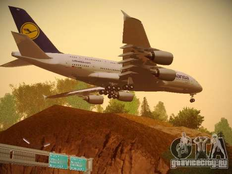 Airbus A380-800 Lufthansa для GTA San Andreas вид сзади