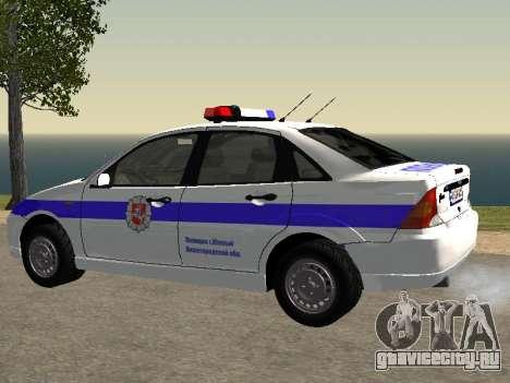 Ford Focus Полиция Нижегородской области для GTA San Andreas вид слева