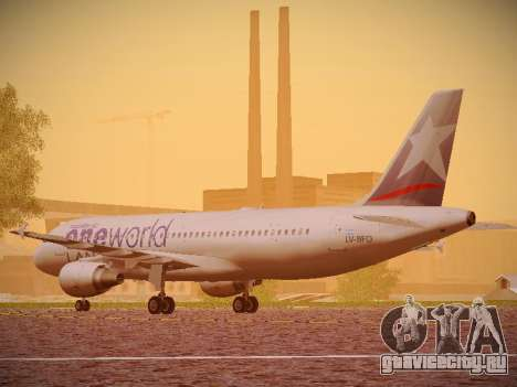 Airbus A320-214 LAN Oneworld для GTA San Andreas вид сзади слева
