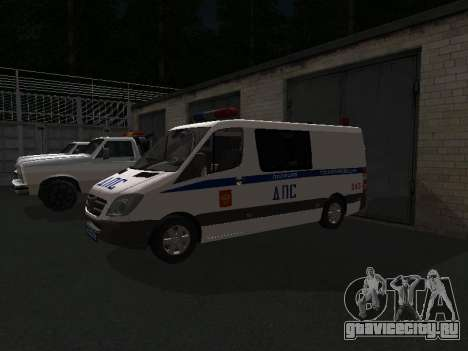 Mercedes-Benz Sprinter ДПС для GTA San Andreas вид сзади слева