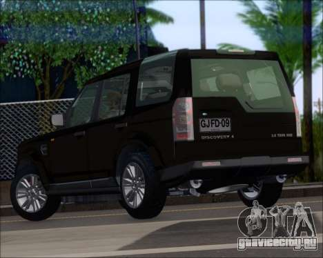 Land Rover Discovery 4 для GTA San Andreas вид сзади слева