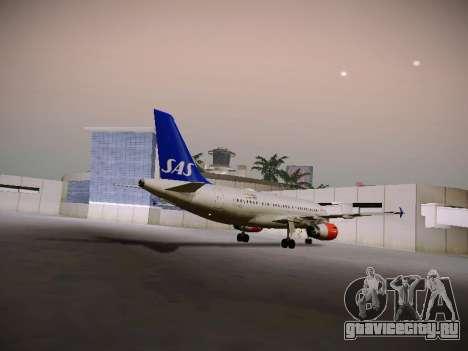 Airbus A319-132 Scandinavian Airlines для GTA San Andreas вид сзади