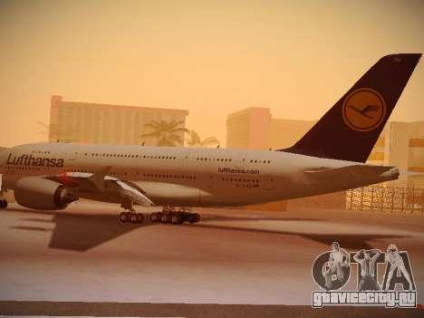 Airbus A380-800 Lufthansa для GTA San Andreas вид сзади слева