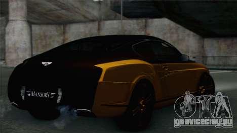 Bentley Continental GT Mansory для GTA San Andreas вид слева