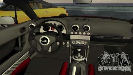 Audi TT Coupe BiMotor Black Revel для GTA Vice City вид изнутри