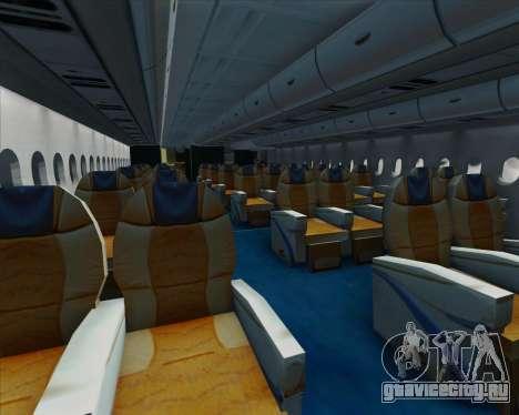 Airbus A380-861 для GTA San Andreas салон