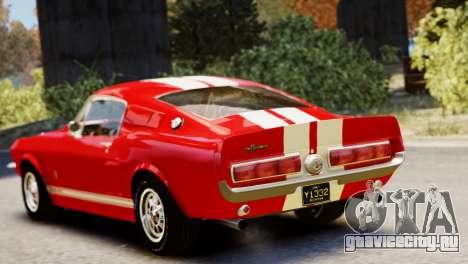 Shelby Cobra GT500 1967 для GTA 4 вид сзади