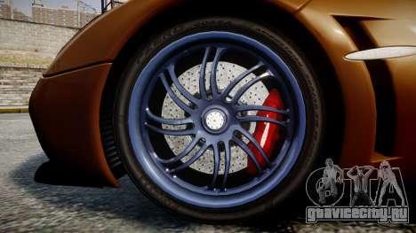 Pagani Huayra 2013 для GTA 4 вид сзади