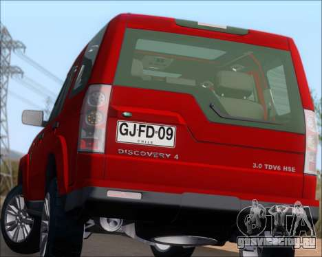 Land Rover Discovery 4 для GTA San Andreas вид снизу