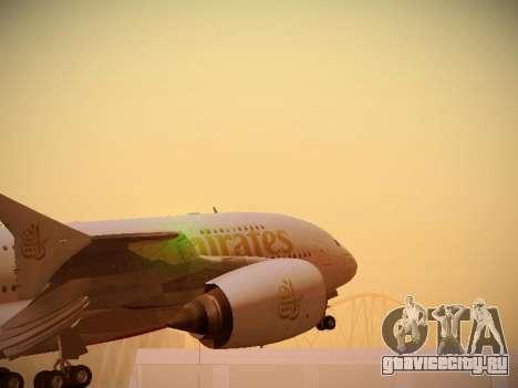 Airbus A380-800 Emirates для GTA San Andreas вид сзади