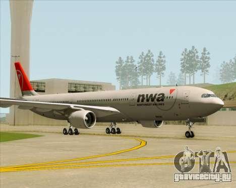 Airbus A330-300 Northwest Airlines для GTA San Andreas вид справа
