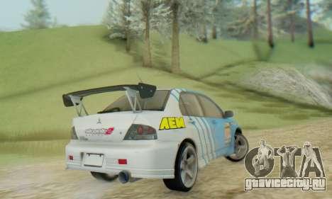 Mitsubishi Lancer Turkis Drift Aem для GTA San Andreas вид сзади слева