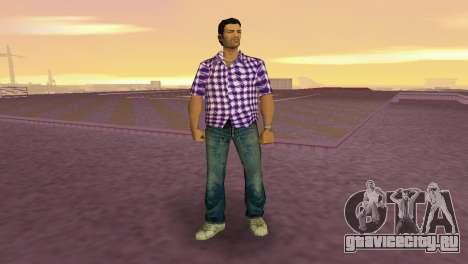 Kockas polo - lila T-Shirt для GTA Vice City второй скриншот