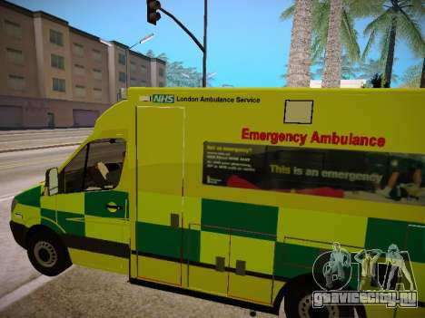 Mercedes-Benz Sprinter London Ambulance для GTA San Andreas вид сбоку