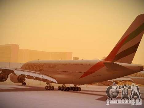 Airbus A380-800 Emirates для GTA San Andreas вид сзади слева