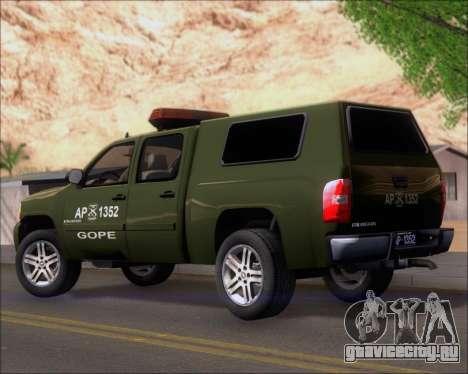 Chevrolet Silverado Gope для GTA San Andreas вид сзади слева