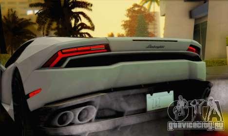 Lamborghini Huracan 2014 для GTA San Andreas вид сзади слева