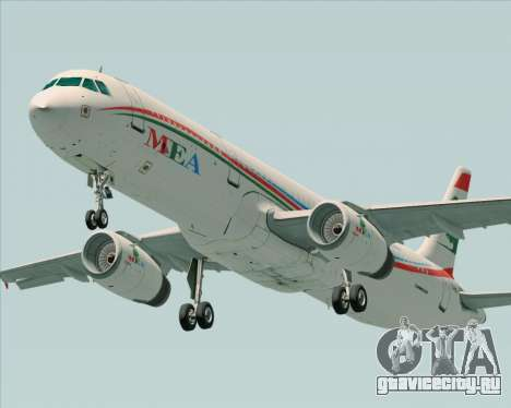 Airbus A321-200 Middle East Airlines (MEA) для GTA San Andreas вид изнутри