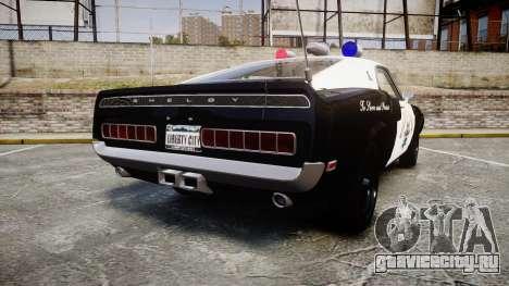 Shelby GT500 428CJ CobraJet 1969 Police для GTA 4 вид сзади слева