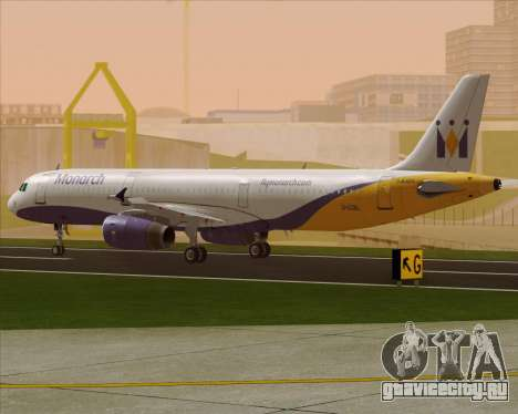 Airbus A321-200 Monarch Airlines для GTA San Andreas вид сзади слева