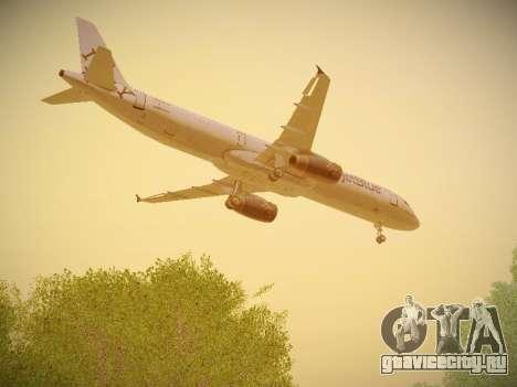 Airbus A321-232 jetBlue I love Blue York для GTA San Andreas вид сбоку