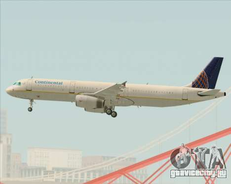 Airbus A321-200 Continental Airlines для GTA San Andreas вид сбоку