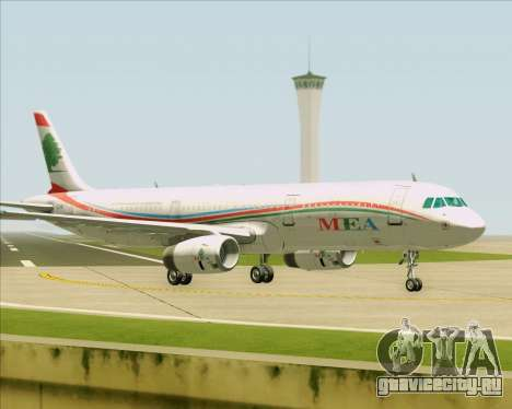 Airbus A321-200 Middle East Airlines (MEA) для GTA San Andreas вид сзади слева