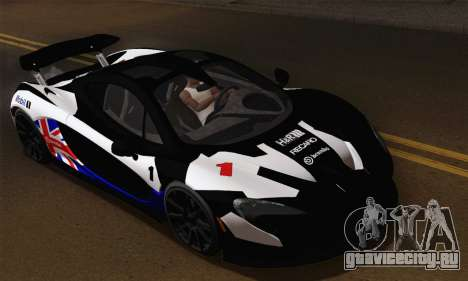 McLaren P1 Black Revel для GTA San Andreas вид изнутри