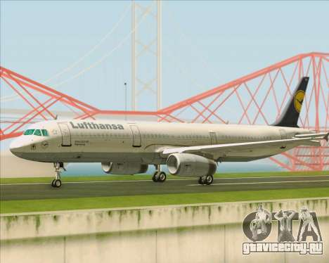 Airbus A321-200 Lufthansa для GTA San Andreas вид сзади слева