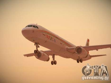 Airbus A321-232 Middle East Airlines для GTA San Andreas вид сзади