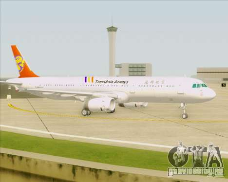 Airbus A321-200 TransAsia Airways для GTA San Andreas вид снизу