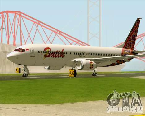 Boeing 737-800 Batik Air для GTA San Andreas вид сзади слева