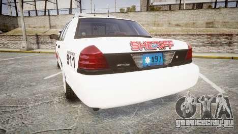 Ford Crown Victoria LC Sheriff [ELS] для GTA 4 вид сзади слева