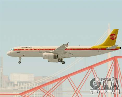 Airbus A321-200 Continental Airlines для GTA San Andreas вид снизу