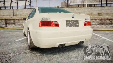 BMW M3 E46 2001 Tuned Wheel White для GTA 4 вид сзади слева