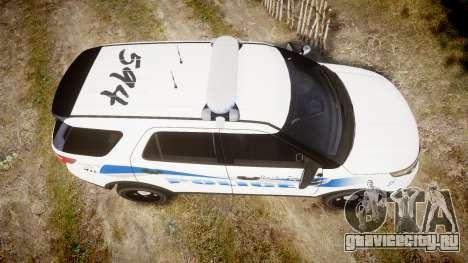 Ford Explorer 2013 PS Police [ELS] для GTA 4 вид справа