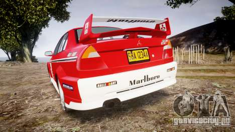 Mitsubishi Lancer Evolution VI Rally Marlboro для GTA 4 вид сзади слева