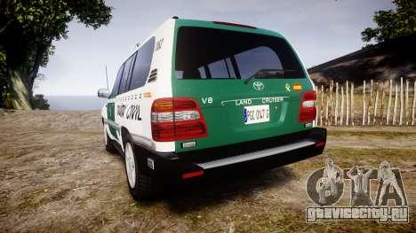 Toyota Land Cruiser Guardia Civil Cops [ELS] для GTA 4 вид сзади слева